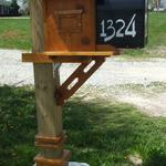 Craftsman style mailbox post, enclosure, numbers