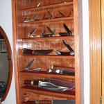 Custom size knife collection wall display case, w/ hinged glass door